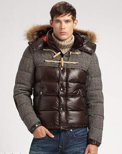 Cheap Moncler Jackets For Men Grey_Brown With Fur Cap MC1129 Sale